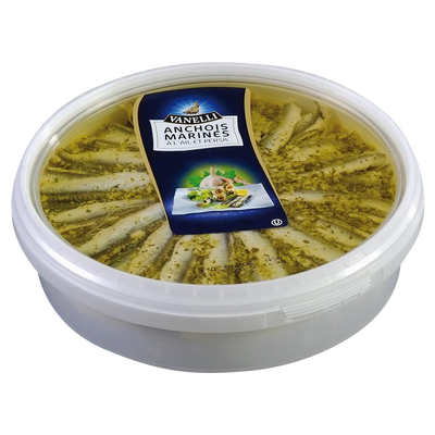 Filets d'anchois marinés à l'ail, transformés au Maroc, barquette de 1kg