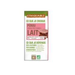 Chocolat lait 47% du Pérou bio ETHIQUABLE tablette de 100g