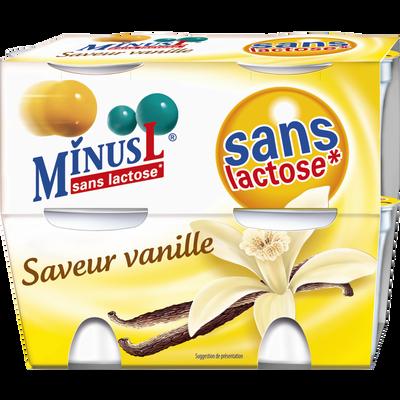 Yaourts saveur vanille sans lactose MINUS L, 4x125g