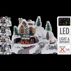 Village de Noël résine avec mouvement 24x15,5x17cm-lumières fibre optique-fonctionne sur pile 3xaa non incluse-4 assmodèles