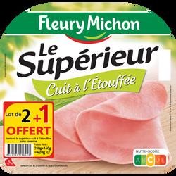 Jambon qualité supérieure cuit à l'étouffée sans sel nitrité FLEURY MICHON, 4 tranches x2+1 offert soit 420g