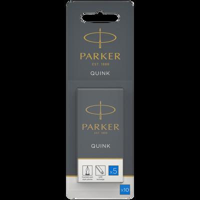 Cartouche longue Quink PARKER, encre bleue, 10 unités
