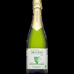 Vin blanc brut bio Vouvray méthode traditionnelle les Tuffières, bouteille de 75cl