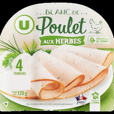 Blanc de poulet aux herbes U, 4 tranches fines, 120g