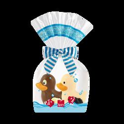 Chocolat au lait et chocolat blanc décoré, moulages Coin et Coin ABTEY, sachet de 100g