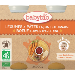 Légumes & Pâtes façon bolognaise au Boeuf fermier d'Aquitaine BABYBIO, dès 6 mois, 2x200g
