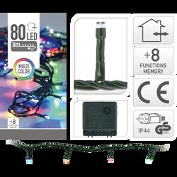 Guirlande 80 led multicouleurs-pour extérieur-partie lumineuse 8m-led5mm-fil vert-fil conducteur 5m-distance entre led 10cm-boitier 8 fonctions a/mémoire-adapateur ip44