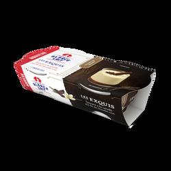 Dessert à la vanille, sur lit de chocolat noir ALSACE LAIT, 2x125g