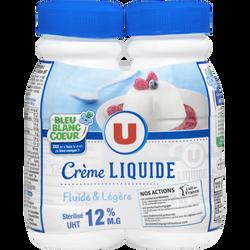 Crème UHT légère liquide bleu blanc c ur U, 12%mg, 2x25cl