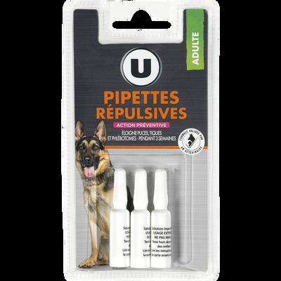 Pipettes répulsives pour chien, U, x3
