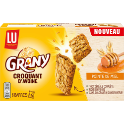 GRANY Lu croquant d'avoine pointe de miel, 8 barres, 168g