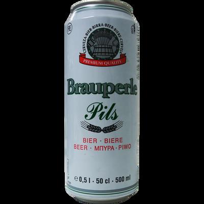 Bière blonde BRAUPERLE PILS, 4,2°, canette de 50cl