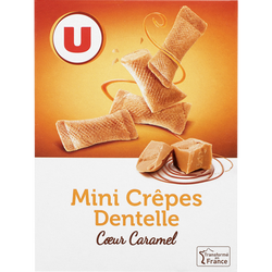 Mini crêpes dentelles coeur de caramel U, 70g