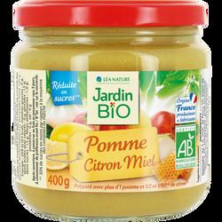 Dessert de fruits JARDIN BIO, Pomme Citron Miel, 400g
