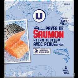 Pavés saumon avec peau U, 500g