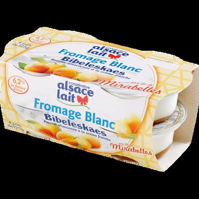 Fromage blanc bibeleskaes mirabelle ALSACE LAIT, 6,2% de MG, 4x125g