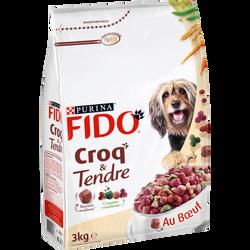 Croquettes croustillantes et bouchées moelleuses pour chiens adultes,FIDO, sac de 3kg