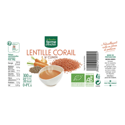 Soupe lentille corail/cumin, BIO, Cup 300ml