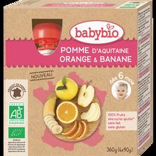 Gourde pomme orange banane BABYBIO, dès 6mois, 4x90g
