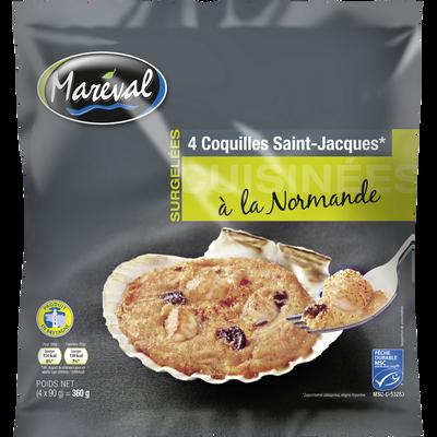 Coquilles Saint Jacques 20% de noix cuisinées à la normande, MAREVAL,x4, 360g