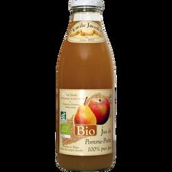 Pur jus de pomme poire BIO JACOBY, bouteille de 1l