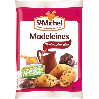 Madeleine coquilles pépites de chocolat oeufs de plein air ST MICHEL,400g