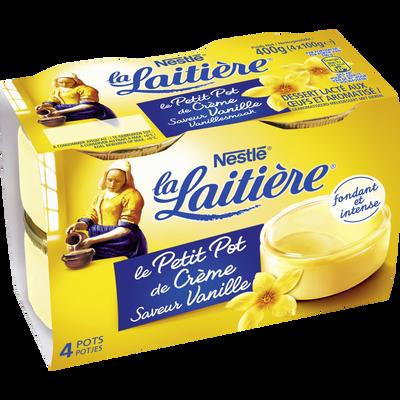 Petits pots de crème saveur vanille LA LAITIERE, 4x100g