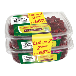 Salade de betteraves rouges au vinaigre balsamique PIERRE MARTINET, 2x500g(2eme-68%)