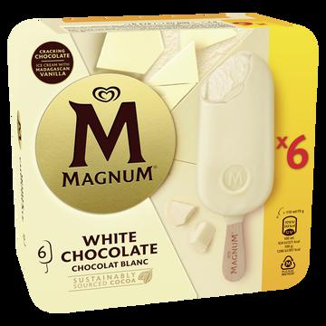 Magnum Glace Bâtonnets Magnum Chocolat Blanc X6