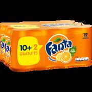 Fanta Orange Fanta, 10 Boîtes De 33cl + 2 Offerts