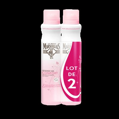 Déodorant soin confort cold cream huile pétales de rose LE PETIT MARSEILLAIS, 2x200ml
