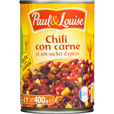 Chili corn carne PAUL & LOUISE boite 1/2 400g
