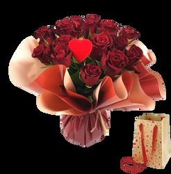 Bouquet bulle 15 roses colorie varié+sac Kenya