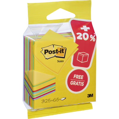 Notes repositionnables POST-IT, 76x76mm, jaune, cube de 325 notes