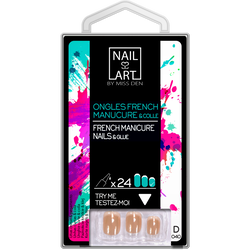 Ongles french manucure mi longs base rose, x24 MISS DEN