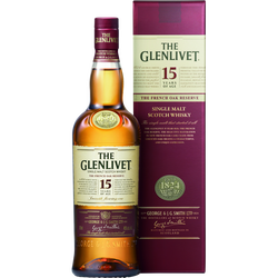 Scotch whisky single malt French Oak THE GLENLIVET, 15 ans d'âge 40° 70cl