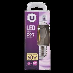 Led U, Mini, ronde, 60w, e27, transparent, lumière chaude
