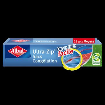 Albal Sacs De Congélation Zip Aux Fonds Plats Moyens Modèles Albal, 15x3l