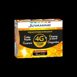 Gelée royale tonifiant physique et intellectuel Guarana, Gingembre et Ginseng Formule 4G JUVAMINE, 10 ampoules à boire