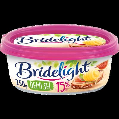 Matière grasse laitière à tartiner demi-sel 15%MG BRIDELIGHT, en barquette de 250g.