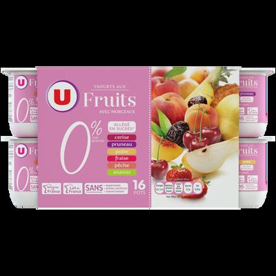 Yaourt 0% de matière grasse et allégé en sucres aux fruits U, 16x125g