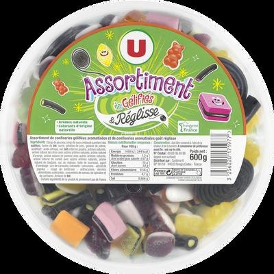 Assortiment de gélifiés et réglisse aromatisés U, boîte de 600g