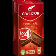 Côte d'Or Chocolat Au Lait Extra Fin Côte D'or, 4 Tablettes De 100g