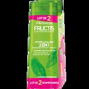 Garnier Shampooing Vert 2 En 1 Antipelliculaire Fructis Flacon 2x250ml