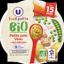 Assiette petits pois et veau BIO U TOUT PETITS, dès 15 mois, 250g