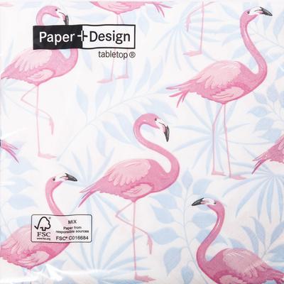 Serviettes, flamingo garden, 3 plis, 33x33cm, 20 unités