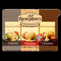 Plateau assortiment raclette au lait pasteurisé 3 poivres classique caractére RICHES MONTS, 26%mg, 700g