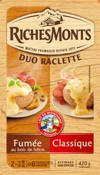 Fromage raclette au lait pasteurisé duo classique goût fumé 26% de matière grasse RICHES MONTS, tranche de 420g