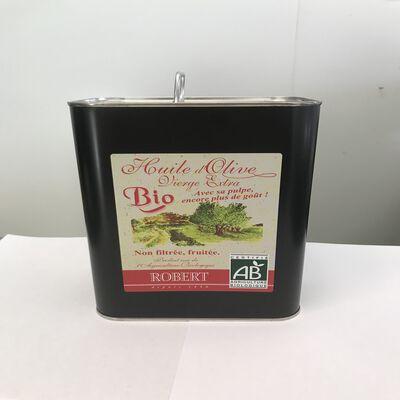 Huile d'olive vierge extra non filtré fruitée avec sa pulpe BIO Robert bidon 2L