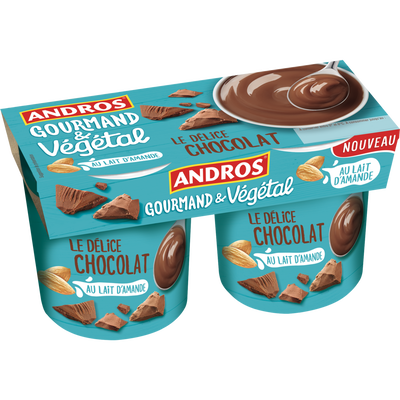 Délice végétal chocolat ANDROS, 2 unités, 120G